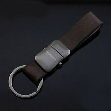 Mens Detachable Leather Black Keychain Chain Ring Keyfob Best Gift Belt Buckle