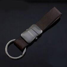 Mens Detachable Leather Black Keychain Chain Ring Keyfob Best Gift Belt Buckle