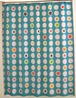Mod Bath Shower Curtain DOMINO Geometric Pattern with Bright Flowers Retail $60