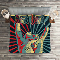 Colorful Quilted Coverlet & Pillow Shams Set, Rock n Roll Hand Sign Print