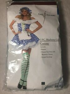 Leg Avenue 3 Pc Blueberry Girl Sexy Dress Up Costume Blue Size XS Adult