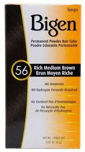 Bigen - Teinture pour cheveux - brun moyen riche 56 - lot de 2