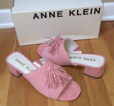 ANNE KLEIN Women's 'Salome' Suede Tassel Mules Pink BRAND NEW in BOX Size 7.5 M