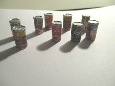 6 DOLLS HOUSE MINIATURE CANS OF FRUIT / VEGETABLES