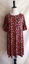 Ann Taylor Loft M Navy Blue & Pink Flower Jersey Knit Boho Ruffled Shift Dress