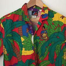 Hobie Cat Vtg Hawaiian Shirt Sz M Wood Buttons Palm Trees Girl Beach Aloha