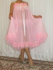 VTG Lingerie Double layer Nylon Slip FULL Sweep Negligee Babydoll Nightgown M-6X