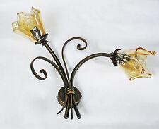 Applique antico ferro battuto lampada led vetro cristallo rustico italy art.652