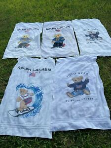 X5 Vintage Ralph Lauren Polo Bear Large Beach Towel Sport Bath stains beat up