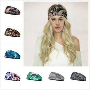 Women's Wide Elastic Headband Turban Hair Band Sports Running Yoga Head Wrap NEW