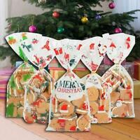 50PCS$Christmas Cellophane Party Bags Treat Candy Bag Christmas Party Favor Gift