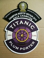TITANIC brewery PLUM PORTER cask ale beer pump clip badge front Staffordshire