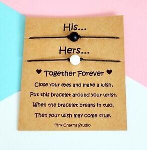 His And Hers Couples Matching Wish Bracelets Set Of 2 Gemstone Beaded Bracelet