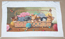 "Dimensions Gold ""Kitty Litter"" Cats in Sewing Basket FINISHED Cross Stitch"