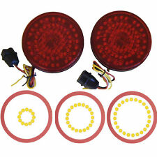 "(2) 4"" Led Truck Trailer RV Lights Stop Turn Tail + Emergency Signal Red"
