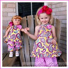 BonEful RTS BTS Girl 6 NEW Spring Dress Top Capri VTG Pants Set Flower Baby Doll