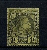 "MONACO STAMP YVERT 9 "" PRINCE CHARLES III 1F BLACK ON YELLOW 1885 "" USED F V565"