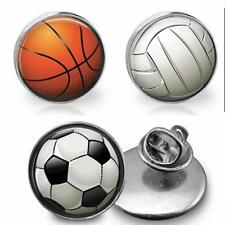 Handcrafted Sports Ball Glass Top Pin Tie Tack Basketball Volleyball or Soccer