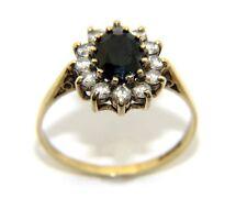 Mujer 9ct 9ct Oro Amarillo Transparente & Azul Piedra Preciosa vestido