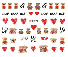 Nail Art 3D Decals Transfers Stickers Teddy Bears (E571)