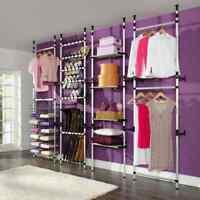 vidaXL Telescopic Wardrobe System with Shelves Aluminium Clothes Storage Rack