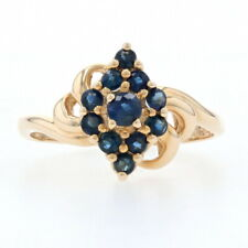 Yellow Gold Sapphire Cluster Halo Bypass Ring - 14k Round Brilliant Cut .65ctw