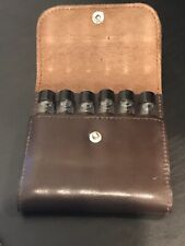 Vial Vintage LEATHER Carrying Case holds 12 (1/2) drams with caps-FREE Shipping