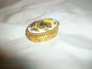 Vintage Brass Gold Tone Metal Pill Box Spring Hinge Porcelain Lid Yellow Flower