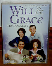Will & Grace 3 No Season Complete Sealed New 3 DVD Series (Sleeveless Open) R2