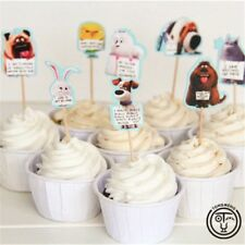 12x Secret Life Of Pets Cupcake Food Cake TOPPER Party Supplies Lolly Bag Flag
