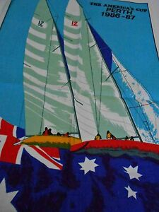 Vintage Teatowel 'The America's Cup Perth, 1986-1987'  Linen/Cotton Blend NEw