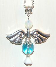 Very Large Beautiful Aqua Aura Quartz Crystal Guardian Angel Charm Pendant