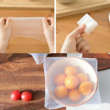 4 Silicone Seal Cover Stretch Cling Film Food Fresh Keep Reusable Kitchen UK