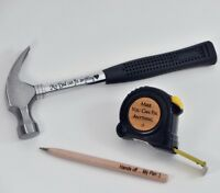 3pcs set Fathers Day Present For Him Personalised Engraved Tape Dad Gift Hammer