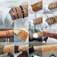 Fashion Charm Women Jewelry Set Rope Natural Stone Crystal Chain Bracelet Bangle