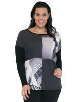 Women's Plus Size Clothing 16-24 Couture Round Neck Top