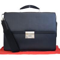 Authentic BALLY 2Way Business Briefcase Shoulder Hand Bag Leather Black 04ES244