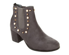 WOMENS GREY STUDDED CHELSEA PULL ON HIGH HEEL ANKLE BOOTS SHOES LADIES SIZE 3-8
