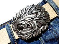 Gürtelschließe Blatt Herbst silber Gürtelschnalle Wechselschnalle Buckle 4cm