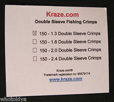 150 Pack Kraze Fishing Leader Double Crimps Sleeves Ferials Size 1.3 Made in USA