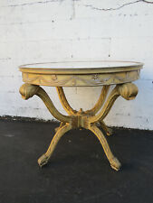 French Painted Heavy Carved Marble Top Large Center Table 8729