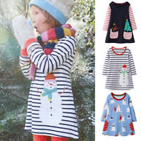 2-8Y Toddler Kid Baby Girl Christmas Cartoon Stripe Long Sleeve Dress Top Outfit