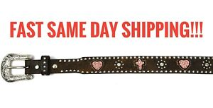 Ladies Girls Nocona Black Belt Hearts Crosses Studs jewels 20  4413630 brown