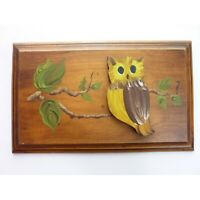 Vintage Wood Plaque Hand Painted Owl on Branch
