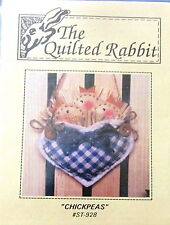 Quilted Rabbit mini pattern ornament baby birds heart basket CHICKPEAS 5""