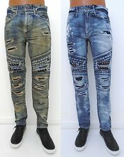 Men JORDAN CRAIG Aaron Blue Distressed Studs Slim Fit Moto Biker Jeans JM3024