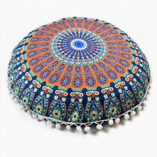 Indian Mandala Pillows Cases Round Floor Bohemian Home Sofa Car Cushion Cover Multicolor C