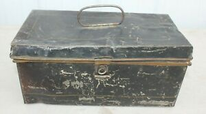 Antique 1910's -1920's Honor Built Shakespeare Black Steel Fishing Tackle Box