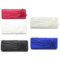 Ladies Satin Clutch Bag with Rose Evening Wedding Party Prom Bridal Handbag