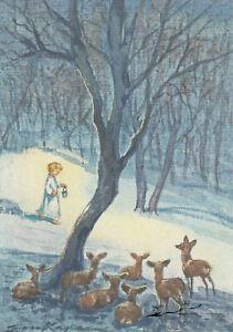 Postkarte: Erica v. Kager - Rehe sehen zu einem Kind im Schnee mit Laterne